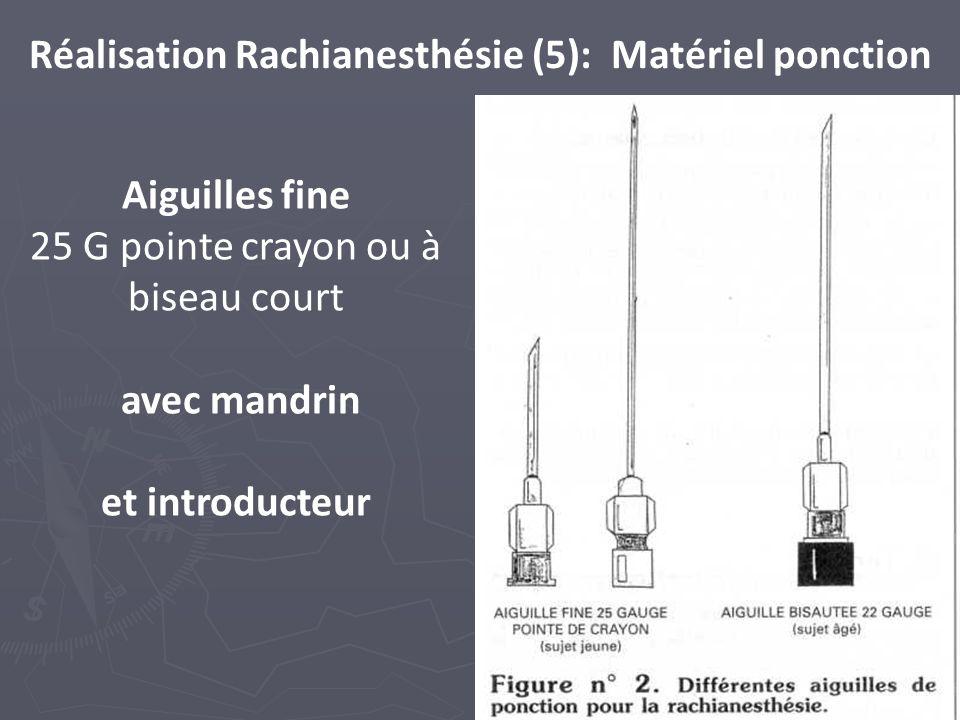 72 Réalisation Rachianesthésie (5): Matériel ponction Aiguilles fine 25 G pointe crayon ou à biseau court avec mandrin et introducteur