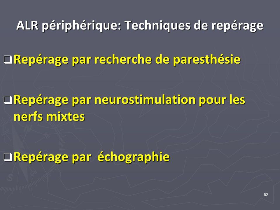 82 ALR périphérique: Techniques de repérage Repérage par recherche de paresthésie Repérage par recherche de paresthésie Repérage par neurostimulation pour les nerfs mixtes Repérage par neurostimulation pour les nerfs mixtes Repérage par échographie Repérage par échographie