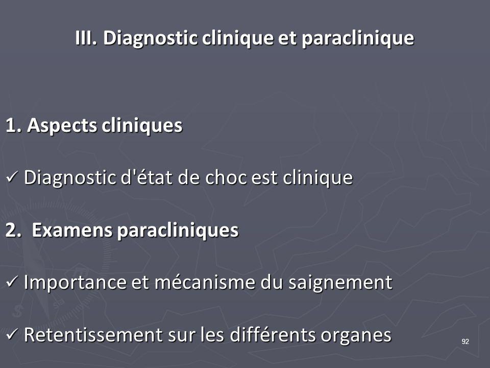 92 III. Diagnostic clinique et paraclinique 1. Aspects cliniques Diagnostic d'état de choc est clinique Diagnostic d'état de choc est clinique 2. Exam