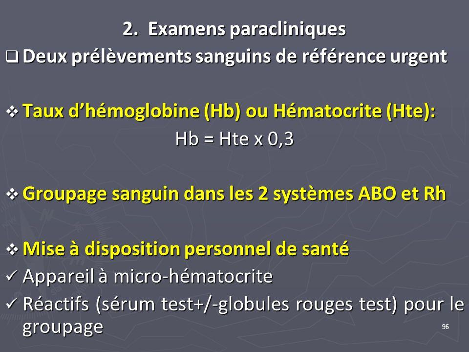 96 2. Examens paracliniques Deux prélèvements sanguins de référence urgent Deux prélèvements sanguins de référence urgent Taux dhémoglobine (Hb) ou Hé