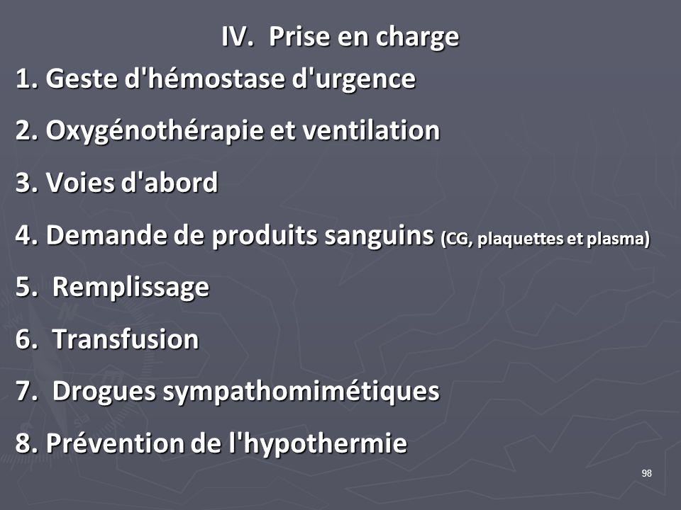 98 IV. Prise en charge 1. Geste d'hémostase d'urgence 2. Oxygénothérapie et ventilation 3. Voies d'abord 4. Demande de produits sanguins (CG, plaquett