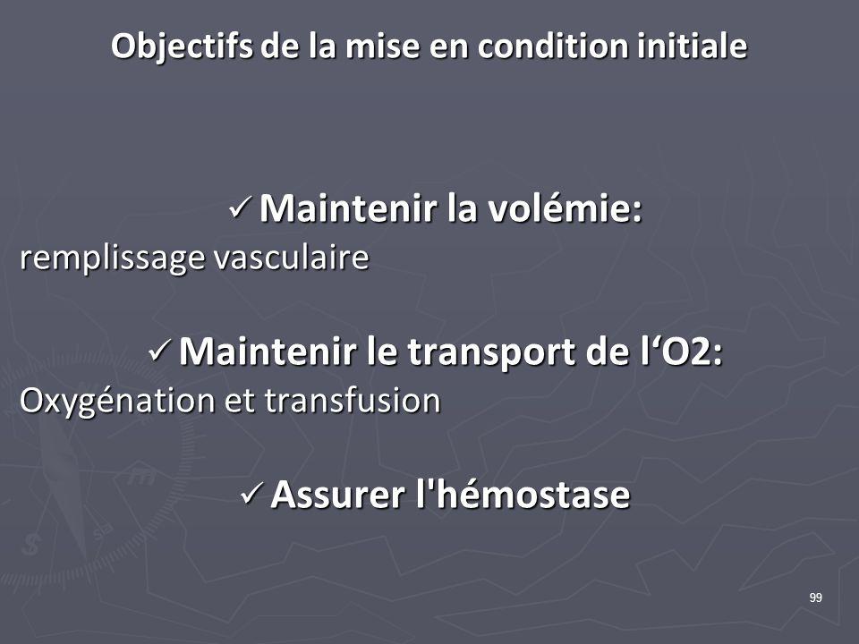 99 Objectifs de la mise en condition initiale Maintenir la volémie: Maintenir la volémie: remplissage vasculaire Maintenir le transport de lO2: Maintenir le transport de lO2: Oxygénation et transfusion Assurer l hémostase Assurer l hémostase