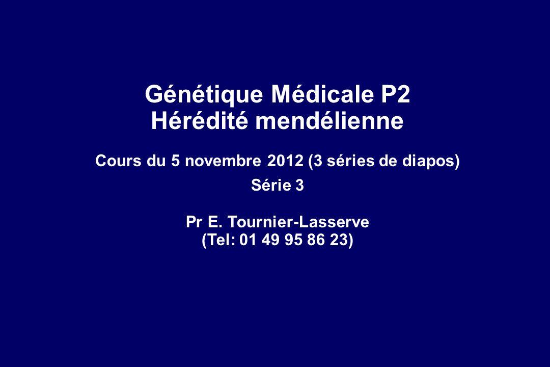 Génétique Médicale P2 Hérédité mendélienne Cours du 5 novembre 2012 (3 séries de diapos) Série 3 Pr E. Tournier-Lasserve (Tel: 01 49 95 86 23)