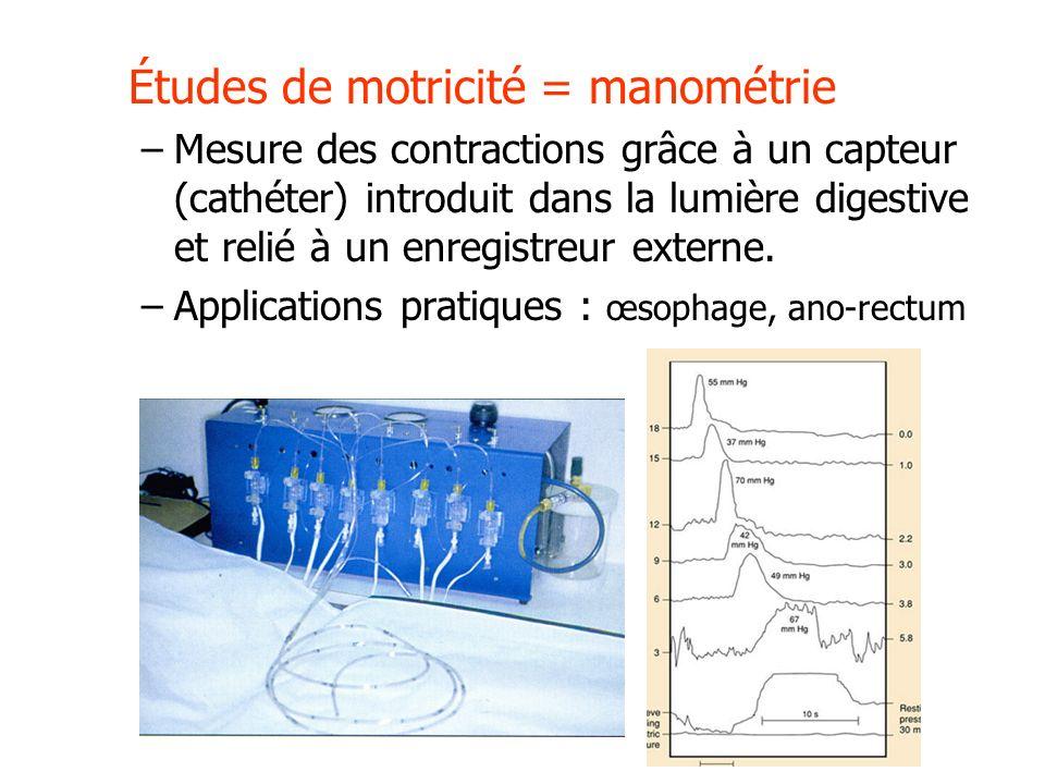 Études de motricité = manométrie –Mesure des contractions grâce à un capteur (cathéter) introduit dans la lumière digestive et relié à un enregistreur