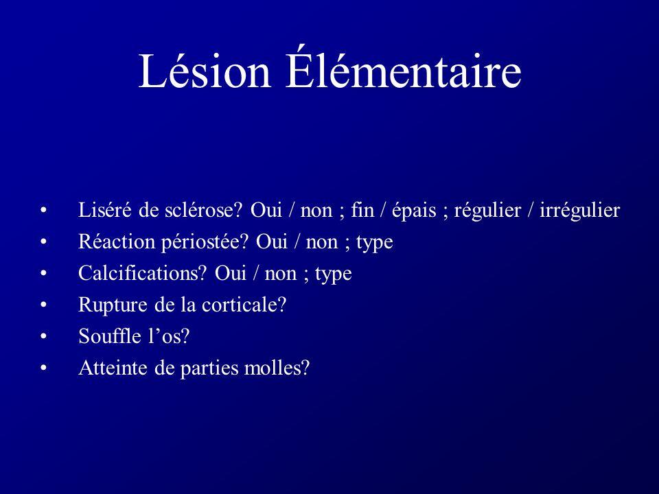 Lesion Élémentaire Densité: condensante ou lytique Limites: Bien définies / mal définies Contours: Réguliers / en carte géographique / irréguliers Tai