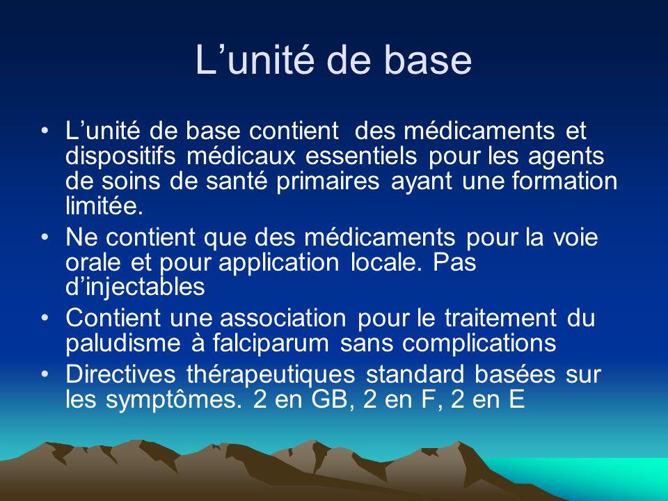 Composition du Kit 2011 Bien différencier les « kit » et « unité ». http://whqlibdoc.who.int/publications/2011/9 789242502114_fre.pdf 1000 10X1 unité