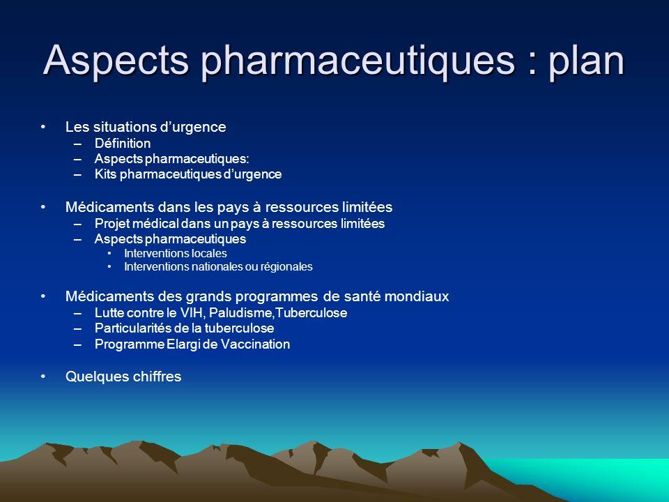 Aspects pharmaceutiques de lAide Humanitaire Jean-Louis Roche Fév. 2013