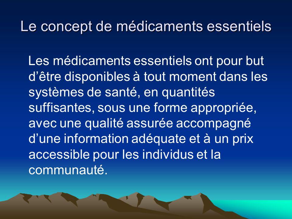 Le concept de médicaments essentiels est au centre de la politique pharmaceutique des pays à ressources limitées