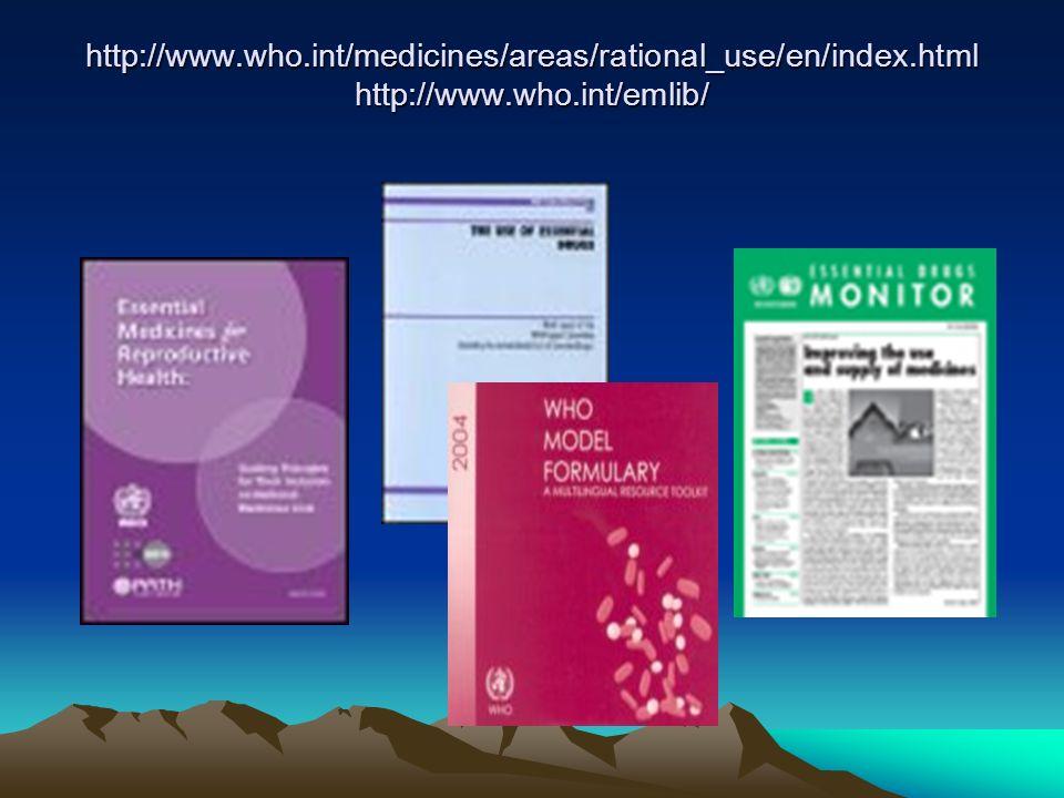 Liste de Médicaments Essentiels dans plus de 157 pays dans le monde Adaptation de la liste OMS par chaque pays en fonction de : – la prévalence des pa