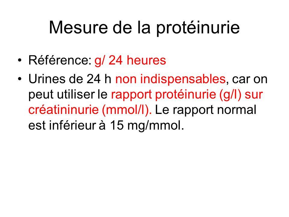 Mesure de la protéinurie Référence: g/ 24 heures Urines de 24 h non indispensables, car on peut utiliser le rapport protéinurie (g/l) sur créatininuri