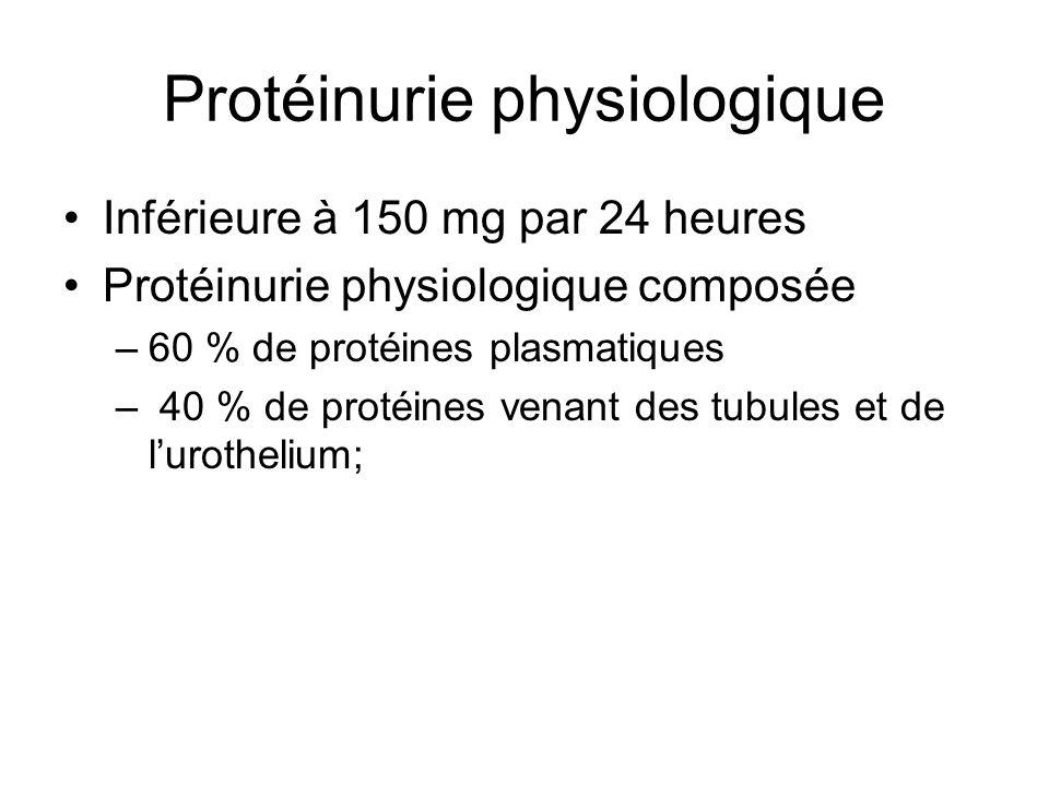 Protéinurie physiologique Inférieure à 150 mg par 24 heures Protéinurie physiologique composée –60 % de protéines plasmatiques – 40 % de protéines ven