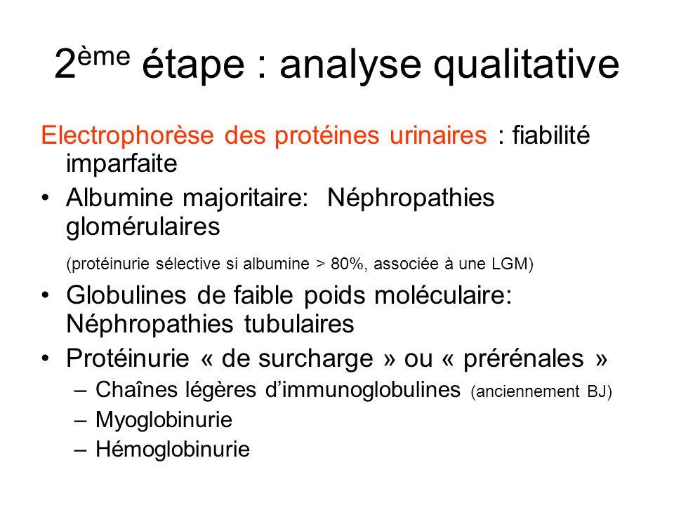 2 ème étape : analyse qualitative Electrophorèse des protéines urinaires : fiabilité imparfaite Albumine majoritaire: Néphropathies glomérulaires (pro