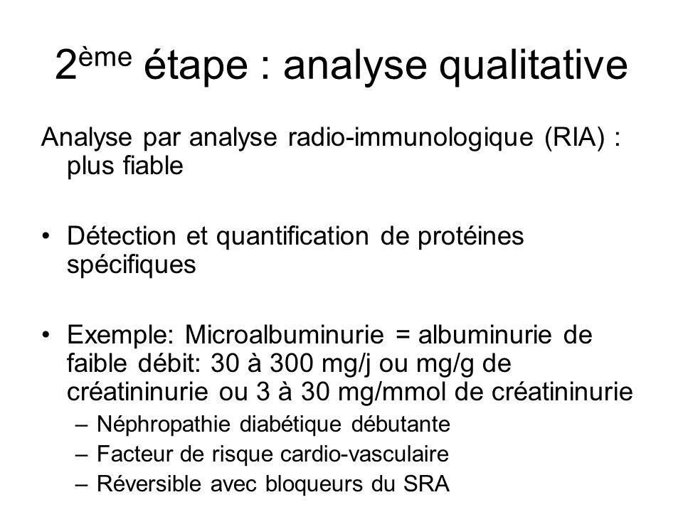 2 ème étape : analyse qualitative Analyse par analyse radio-immunologique (RIA) : plus fiable Détection et quantification de protéines spécifiques Exe