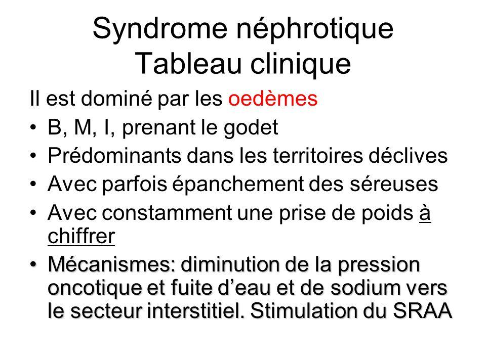 Syndrome néphrotique Tableau clinique Il est dominé par les oedèmes B, M, I, prenant le godet Prédominants dans les territoires déclives Avec parfois