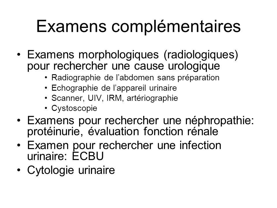 Examens complémentaires Examens morphologiques (radiologiques) pour rechercher une cause urologique Radiographie de labdomen sans préparation Echograp