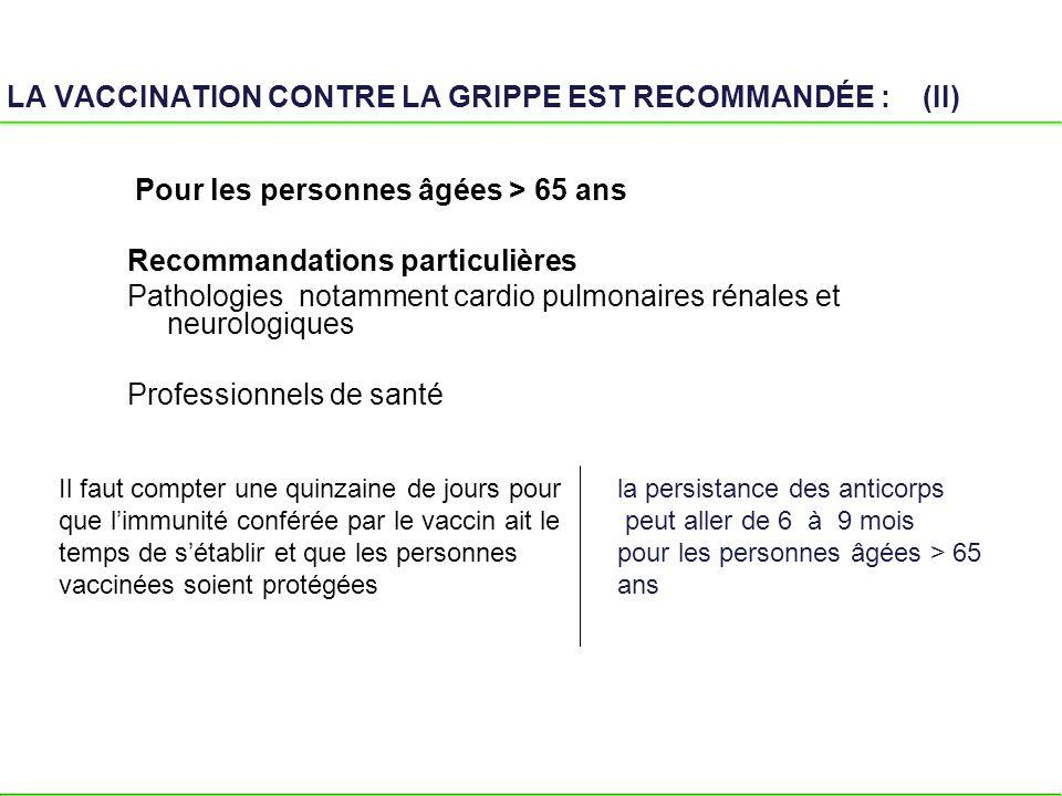 LA VACCINATION CONTRE LA GRIPPE EST RECOMMANDÉE : (II) Pour les personnes âgées > 65 ans Recommandations particulières Pathologies notamment cardio pu