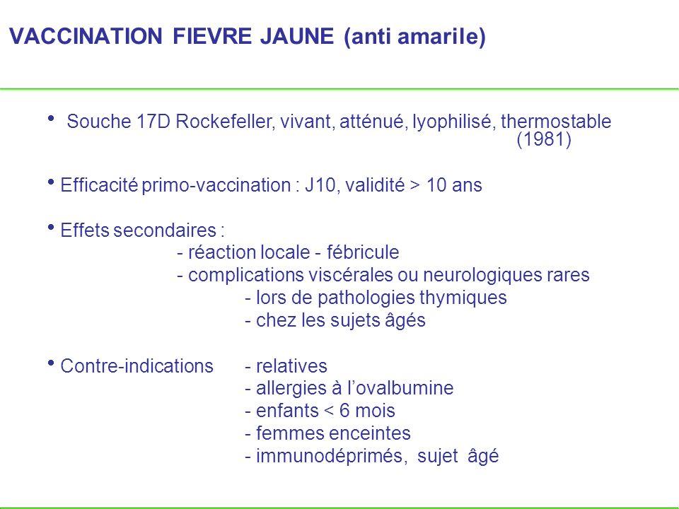VACCINATION FIEVRE JAUNE (anti amarile) Souche 17D Rockefeller, vivant, atténué, lyophilisé, thermostable (1981) Efficacité primo-vaccination : J10, v