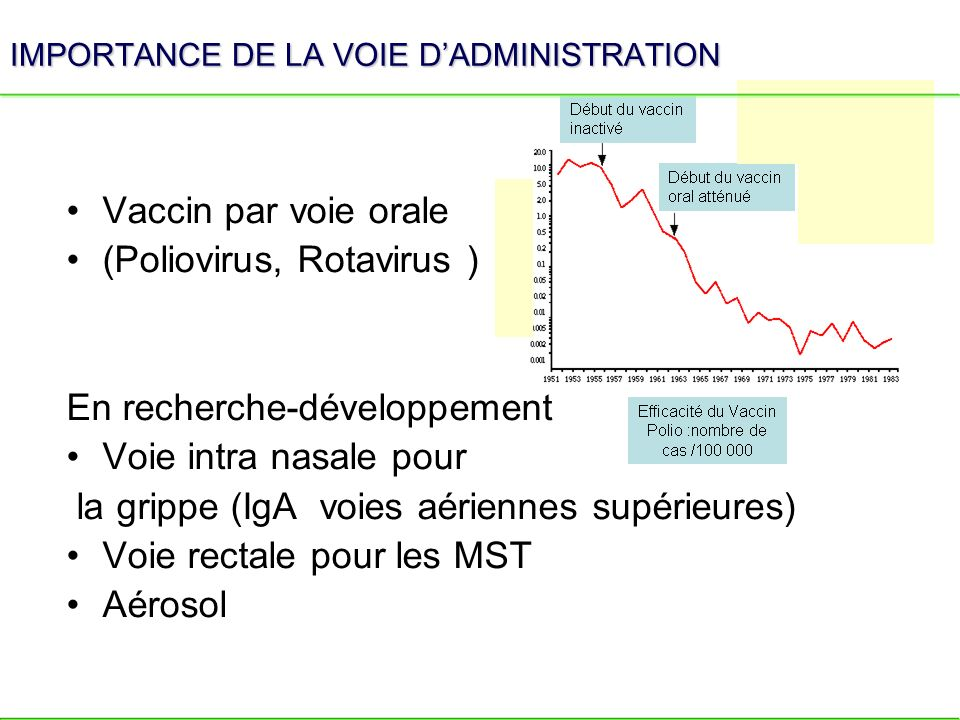 IMPORTANCE DE LA VOIE DADMINISTRATION Vaccin par voie orale (Poliovirus, Rotavirus ) En recherche-développement Voie intra nasale pour la grippe (IgA