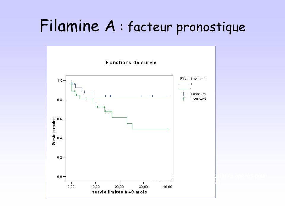 Filamine A : facteur pronostique Survie actuarielle des patients opérés pour un CC périphérique (n=57)
