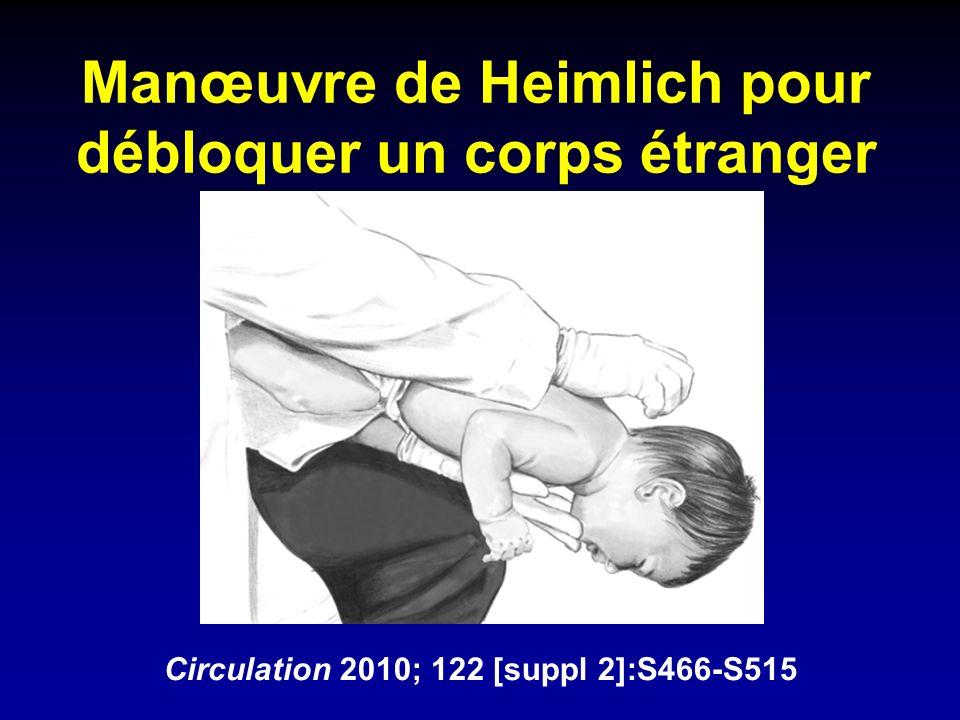 Manœuvre de Heimlich pour débloquer un corps étranger Circulation 2010; 122 [suppl 2]:S466-S515