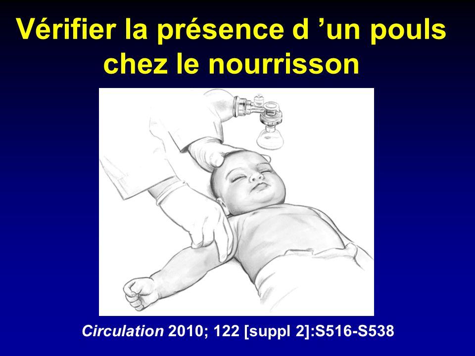 Vérifier la présence d un pouls chez le nourrisson Circulation 2010; 122 [suppl 2]:S516-S538