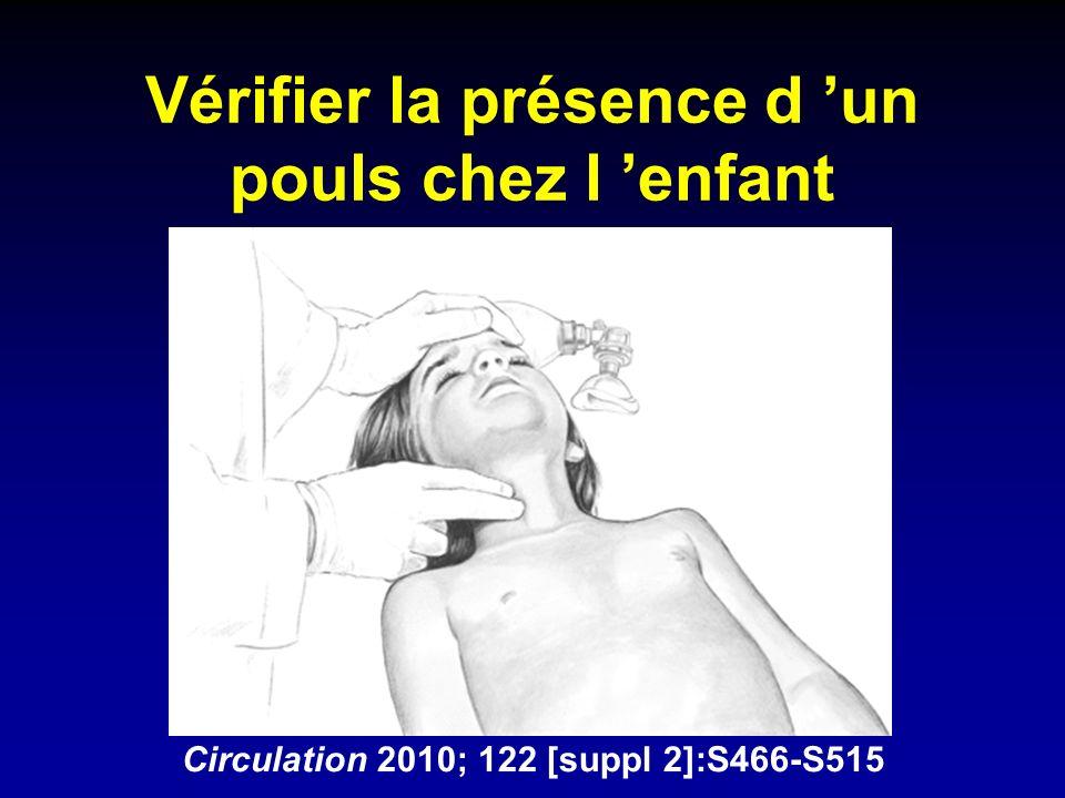 Vérifier la présence d un pouls chez l enfant Circulation 2010; 122 [suppl 2]:S466-S515