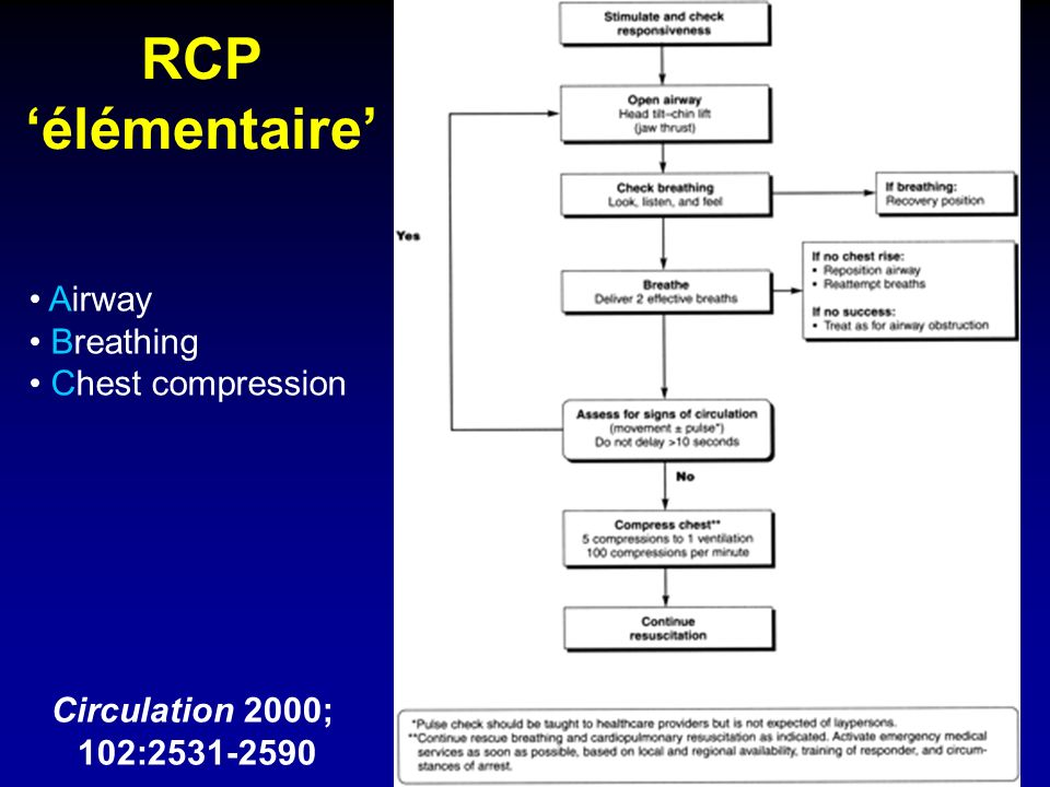 RCP élémentaire Circulation 2000; 102:2531-2590 Airway Breathing Chest compression