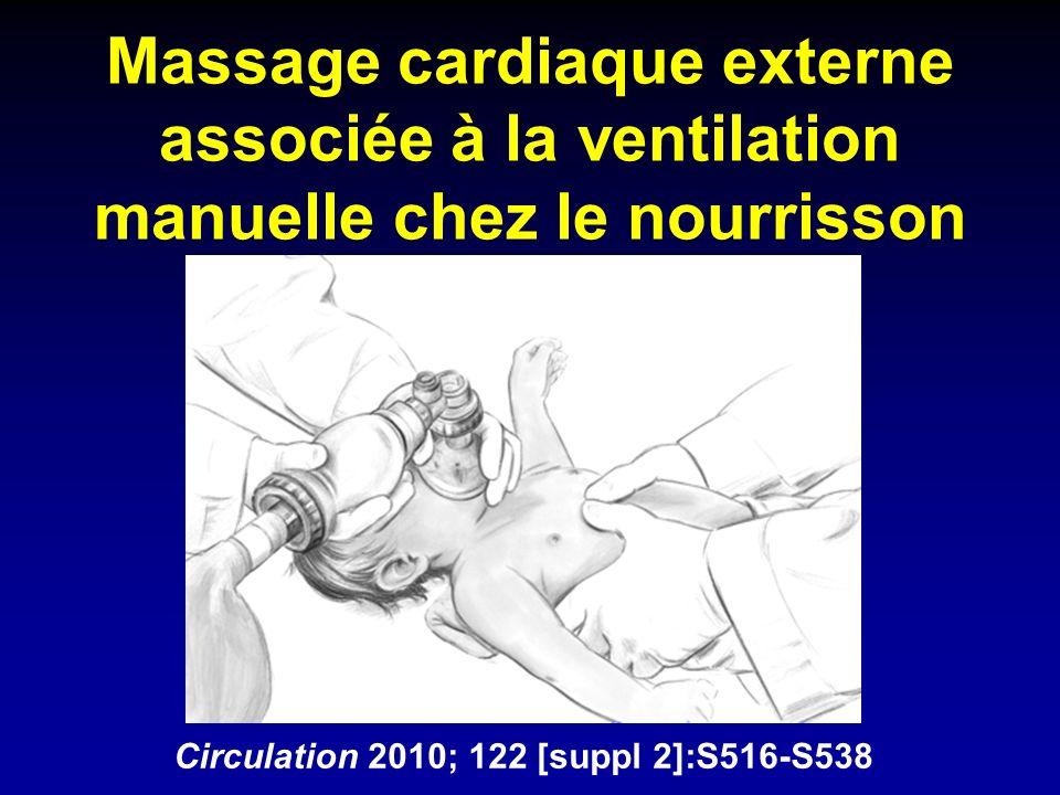 Massage cardiaque externe associée à la ventilation manuelle chez le nourrisson Circulation 2010; 122 [suppl 2]:S516-S538