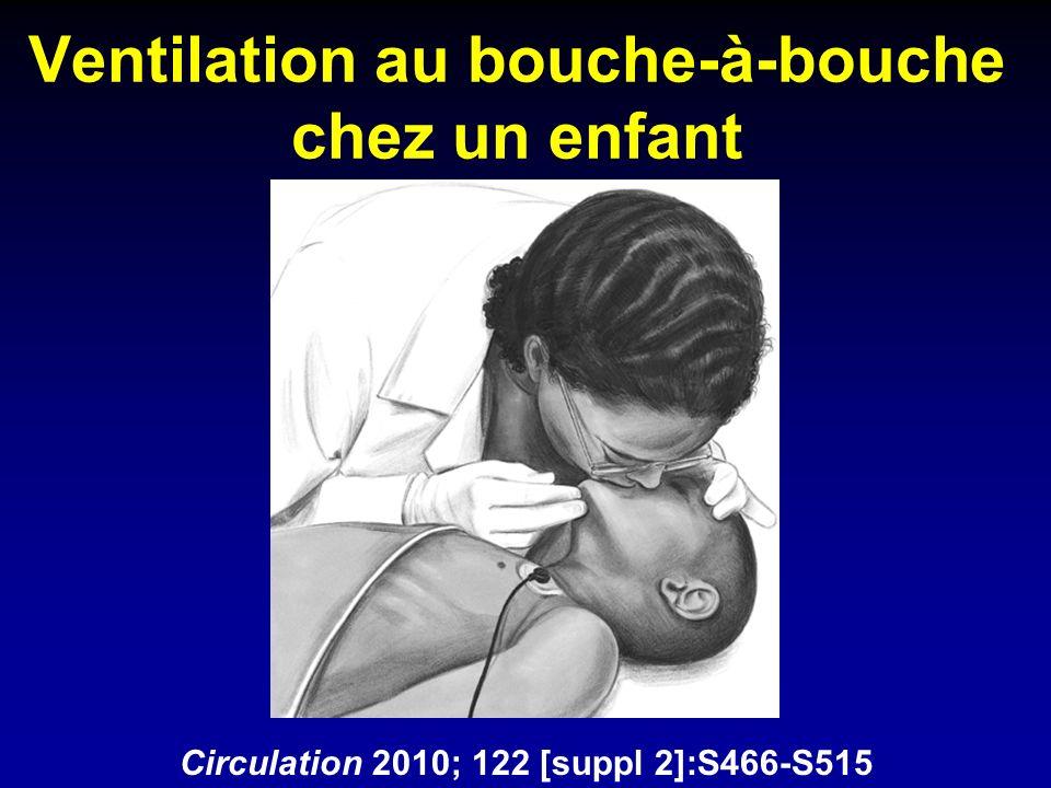 Ventilation au bouche-à-bouche chez un enfant Circulation 2010; 122 [suppl 2]:S466-S515