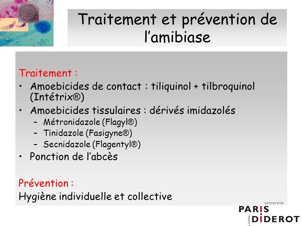 Traitement et prévention de lamibiase Traitement : Amoebicides de contact : tiliquinol + tilbroquinol (Intétrix ® ) Amoebicides tissulaires : dérivés