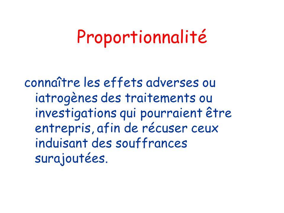 Proportionnalité connaître les effets adverses ou iatrogènes des traitements ou investigations qui pourraient être entrepris, afin de récuser ceux ind