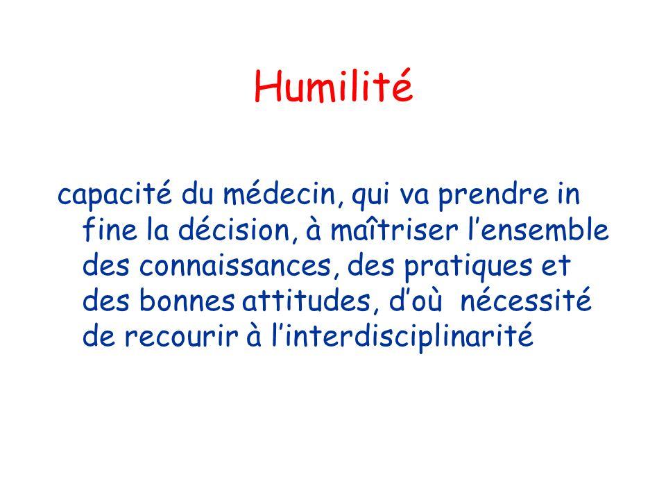 Humilité capacité du médecin, qui va prendre in fine la décision, à maîtriser lensemble des connaissances, des pratiques et des bonnes attitudes, doù