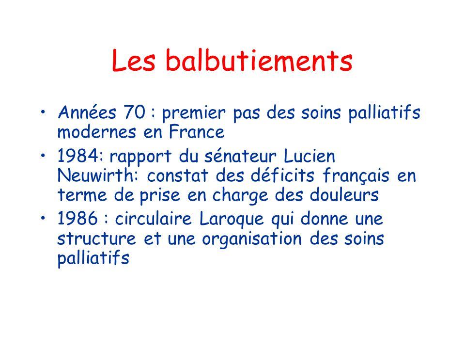 Les balbutiements Années 70 : premier pas des soins palliatifs modernes en France 1984: rapport du sénateur Lucien Neuwirth: constat des déficits fran