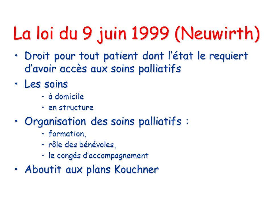La loi du 9 juin 1999 (Neuwirth) Droit pour tout patient dont létat le requiert davoir accès aux soins palliatifsDroit pour tout patient dont létat le
