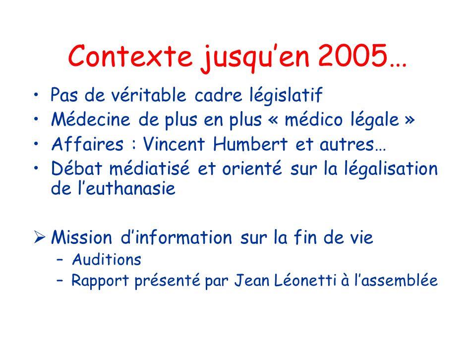 Contexte jusquen 2005… Pas de véritable cadre législatif Médecine de plus en plus « médico légale » Affaires : Vincent Humbert et autres… Débat médiat