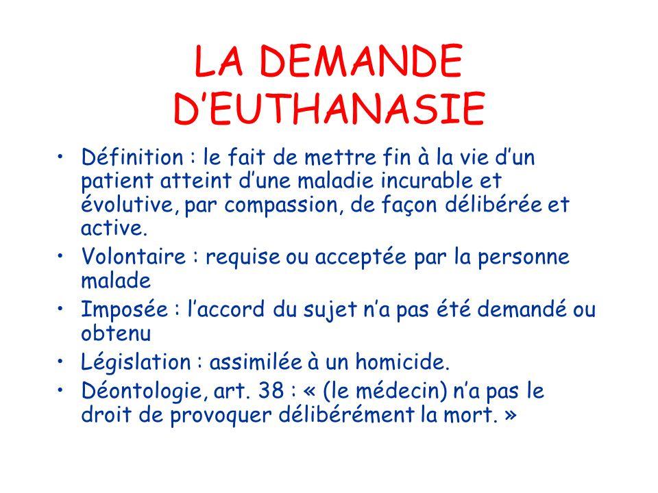 LA DEMANDE DEUTHANASIE Définition : le fait de mettre fin à la vie dun patient atteint dune maladie incurable et évolutive, par compassion, de façon d