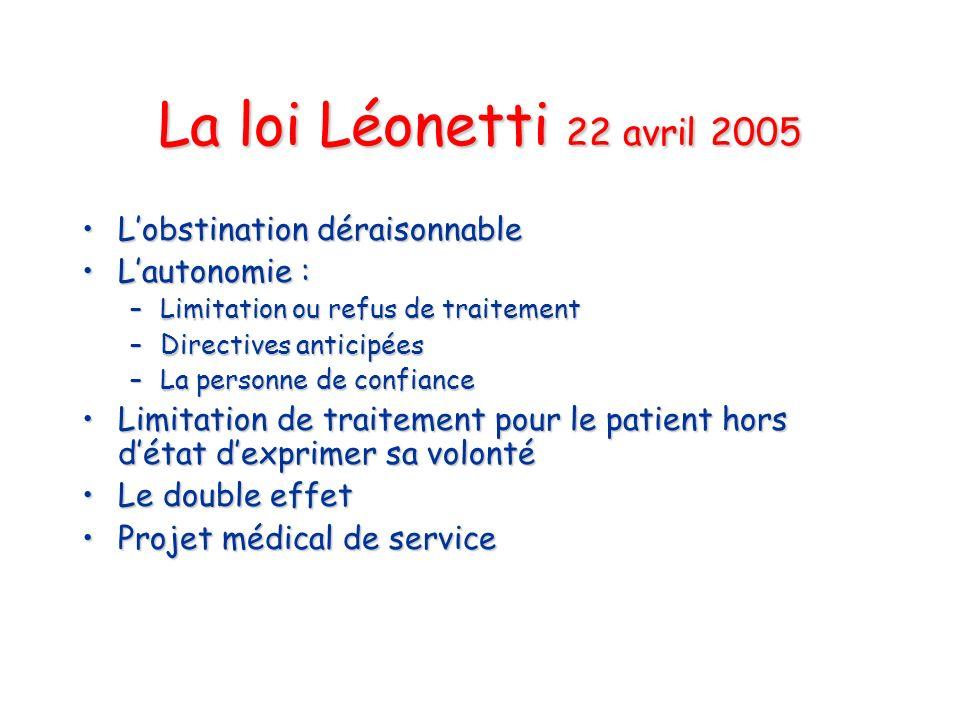 La loi Léonetti 22 avril 2005 Lobstination déraisonnableLobstination déraisonnable Lautonomie :Lautonomie : –Limitation ou refus de traitement –Direct