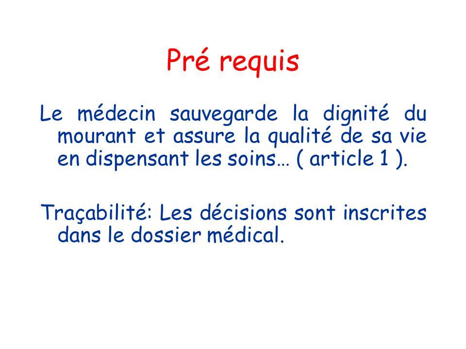 Pré requis Le médecin sauvegarde la dignité du mourant et assure la qualité de sa vie en dispensant les soins… ( article 1 ). Traçabilité: Les décisio