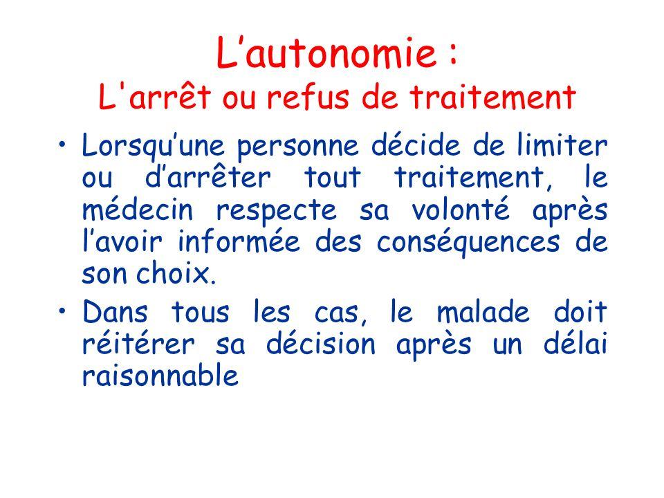 Lautonomie : L'arrêt ou refus de traitement Lorsquune personne décide de limiter ou darrêter tout traitement, le médecin respecte sa volonté après lav