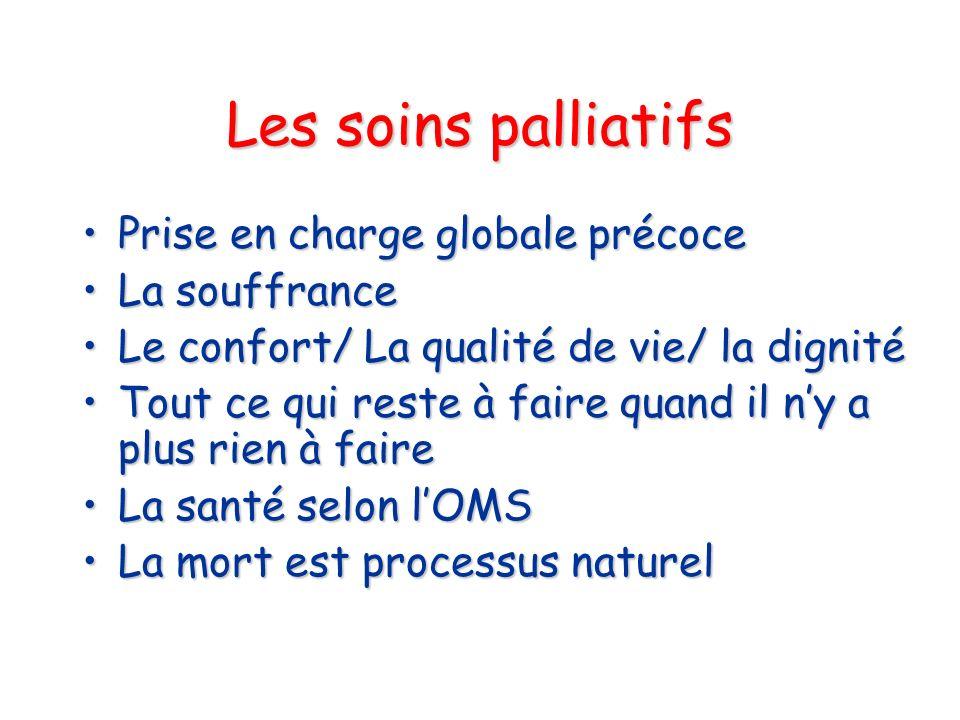 Les soins palliatifs Prise en charge globale précocePrise en charge globale précoce La souffranceLa souffrance Le confort/ La qualité de vie/ la digni