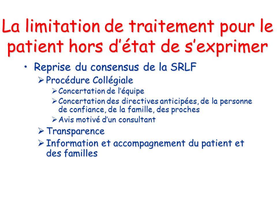 La limitation de traitement pour le patient hors détat de sexprimer Reprise du consensus de la SRLFReprise du consensus de la SRLF Procédure Collégial