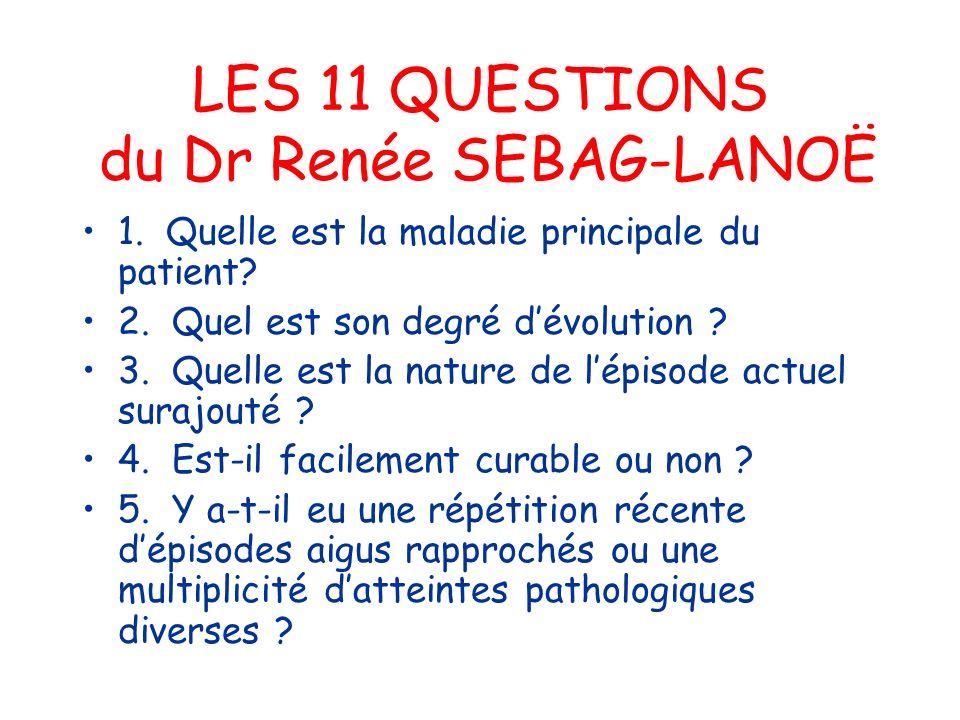 LES 11 QUESTIONS du Dr Renée SEBAG-LANOË 1. Quelle est la maladie principale du patient? 2. Quel est son degré dévolution ? 3. Quelle est la nature de