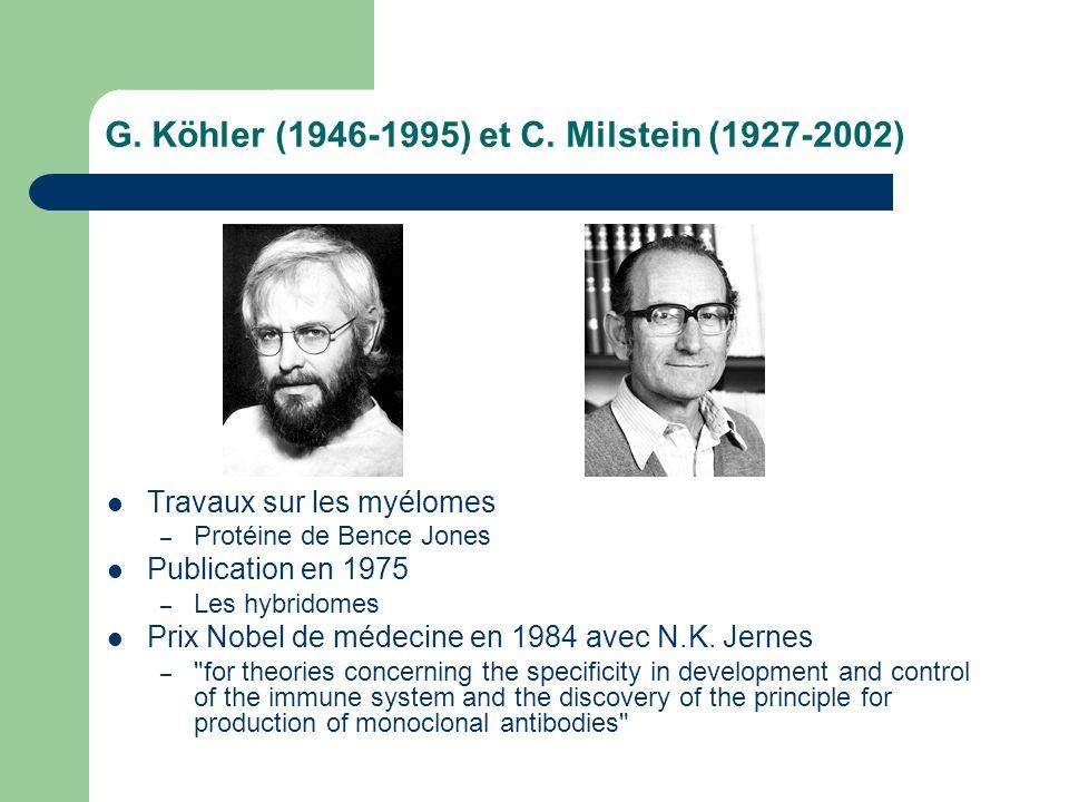 G. Köhler (1946-1995) et C. Milstein (1927-2002) Travaux sur les myélomes – Protéine de Bence Jones Publication en 1975 – Les hybridomes Prix Nobel de