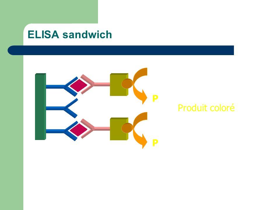 ELISA sandwich S P S P Produit coloré