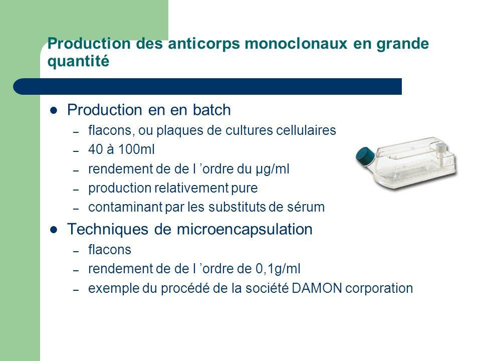 Production des anticorps monoclonaux en grande quantité Production en en batch – flacons, ou plaques de cultures cellulaires – 40 à 100ml – rendement