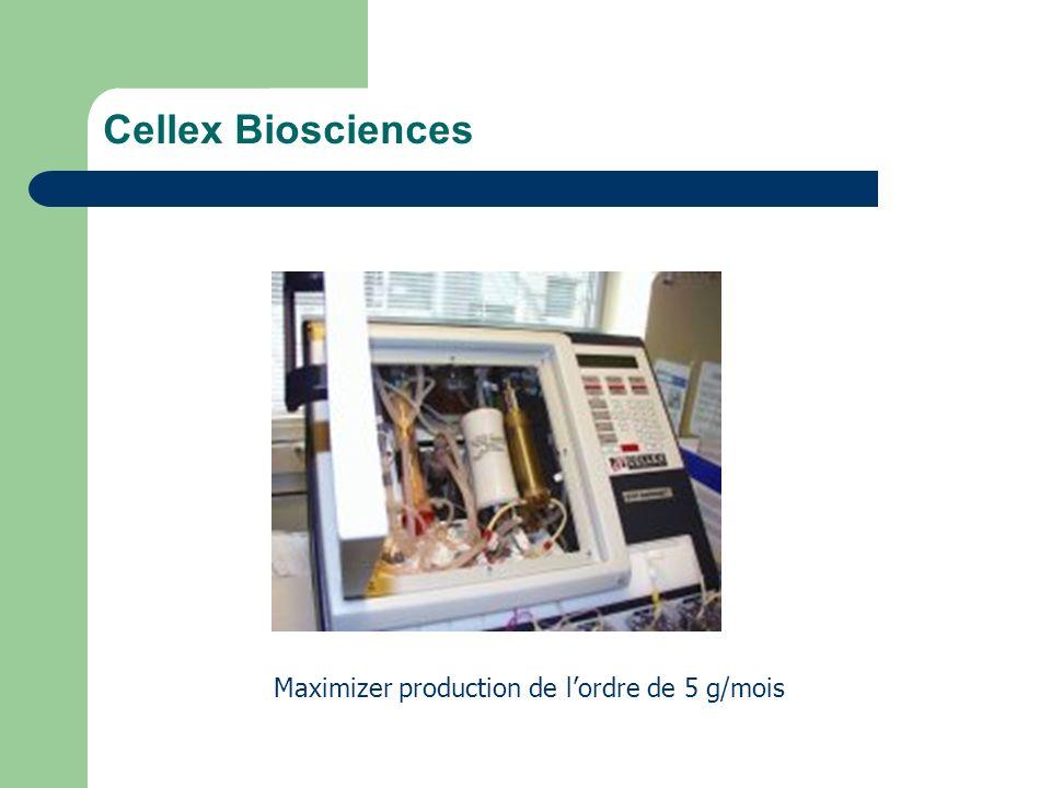 Cellex Biosciences Maximizer production de lordre de 5 g/mois