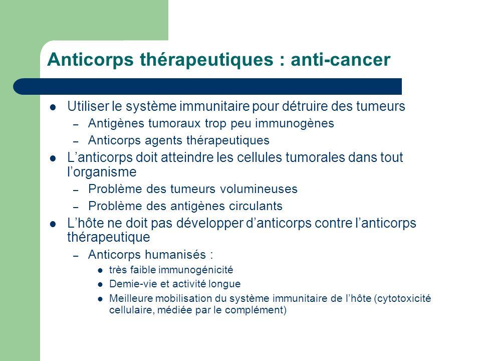 Anticorps thérapeutiques : anti-cancer Utiliser le système immunitaire pour détruire des tumeurs – Antigènes tumoraux trop peu immunogènes – Anticorps