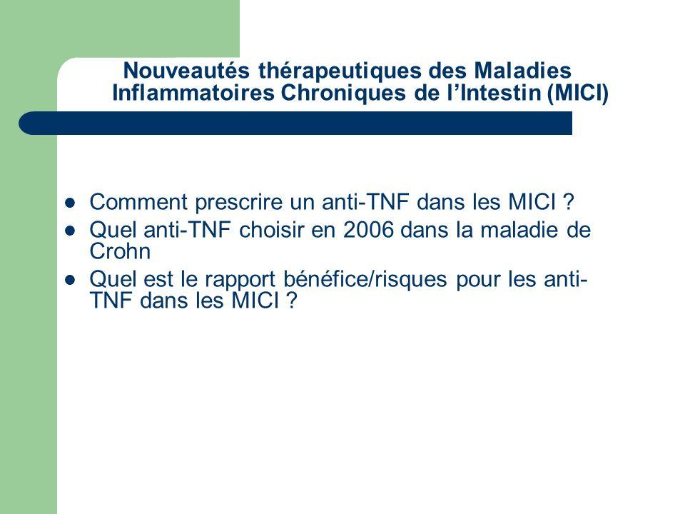 Nouveautés thérapeutiques des Maladies Inflammatoires Chroniques de lIntestin (MICI) Comment prescrire un anti-TNF dans les MICI ? Quel anti-TNF chois