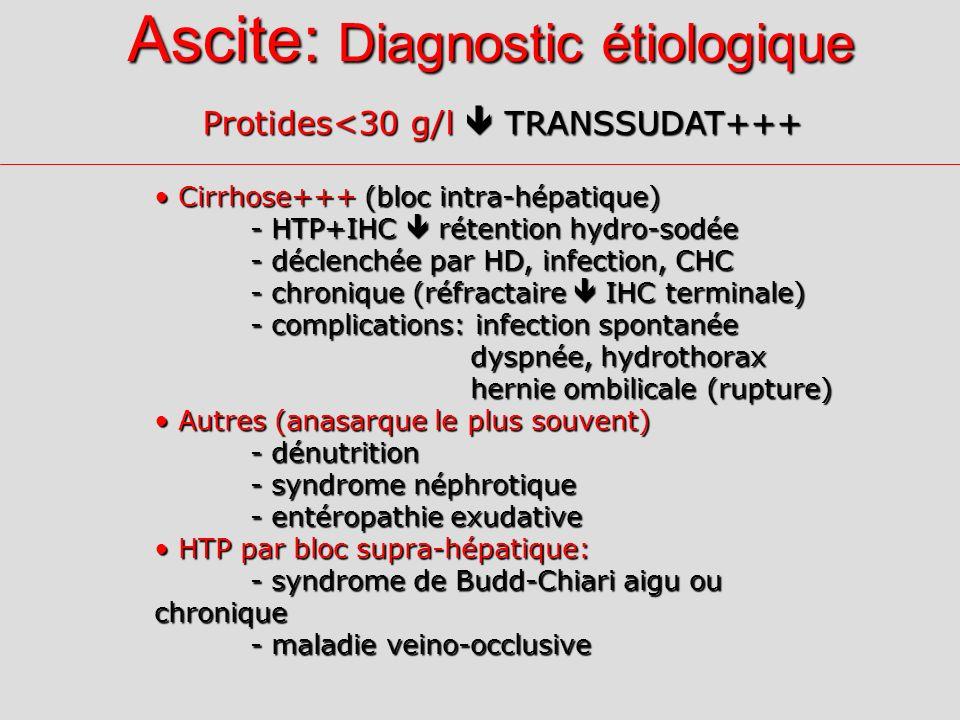 Ascite: Diagnostic étiologique Protides<30 g/l TRANSSUDAT+++ Cirrhose+++ (bloc intra-hépatique) Cirrhose+++ (bloc intra-hépatique) - HTP+IHC rétention hydro-sodée - déclenchée par HD, infection, CHC - chronique (réfractaire IHC terminale) - complications: infection spontanée dyspnée, hydrothorax dyspnée, hydrothorax hernie ombilicale (rupture) hernie ombilicale (rupture) Autres (anasarque le plus souvent) Autres (anasarque le plus souvent) - dénutrition - syndrome néphrotique - entéropathie exudative HTP par bloc supra-hépatique: HTP par bloc supra-hépatique: - syndrome de Budd-Chiari aigu ou chronique - maladie veino-occlusive
