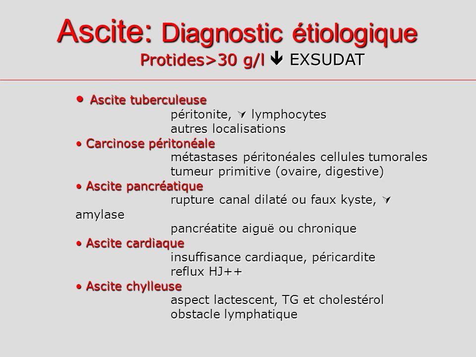 Ascite: Diagnostic étiologique Protides>30 g/l EXSUDAT Ascite tuberculeuse Ascite tuberculeuse péritonite, lymphocytes autres localisations Carcinose péritonéale Carcinose péritonéale métastases péritonéales cellules tumorales tumeur primitive (ovaire, digestive) Ascite pancréatique Ascite pancréatique rupture canal dilaté ou faux kyste, amylase pancréatite aiguë ou chronique Ascite cardiaque Ascite cardiaque insuffisance cardiaque, péricardite reflux HJ++ Ascite chylleuse Ascite chylleuse aspect lactescent, TG et cholestérol obstacle lymphatique